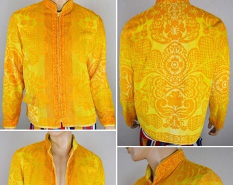 Vintage 1960's Men's Tapestry TeRRY CLoTH Ombre SuRfeR BeaCH CaBaNa HIPPiE Jacket Size L