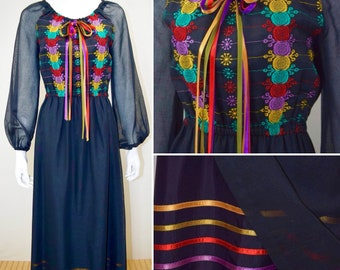 Vintage 1970's YOUNG EDWARDIAN Peasant HiPPiE BoHo Chic Rainbow Embroidered Maxi Dress size M
