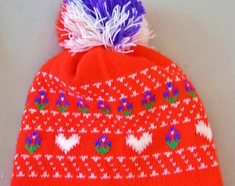 Vintage 1970's  Womens Fair Isle Neon Red Purple White Heart Wool Knit Pom Pom Winter HiPPiE HipTeR Ski Snowboarding Hat