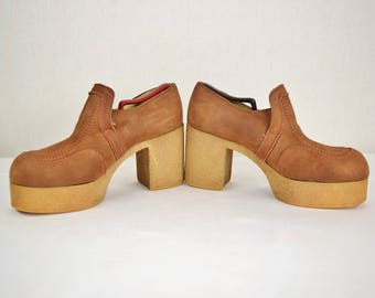 Rare Vintage 1970's Men's 10 / 10.5 ~ BiG Platform Disco Glam Rock Star Shoes ~ Brown Leather Nubuck ~ Clean!