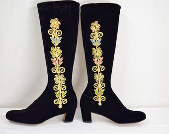 Rare Vintage 1960's BETH'S BOOTERY  Saks Fifth Ave. Beth Herbert Levine Embroidered Black Velvet Go Go Tall Boots 7 7.5 Boho HIppie Ethnic