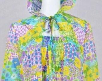 Vintage 1970's Women's Butterfly Flower Boho HiPPiE Festival Dress Sheer Gauze Smocked MaXi Sun Dress with Hood Duster L