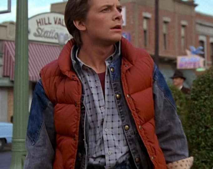 Vintage 1980's Men's SEARS Marty McFly Rust Orange Back to the Future Puffer Ski Down Feather Vest Size M 42 Cosplay