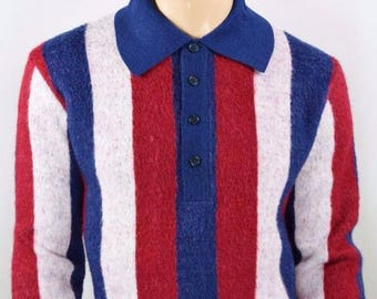 Vintage 1950's 60's Men's Damon Italy AtOMiC MOD LoOP CoLLaR BeAtNiK Striped Knit Sweater L