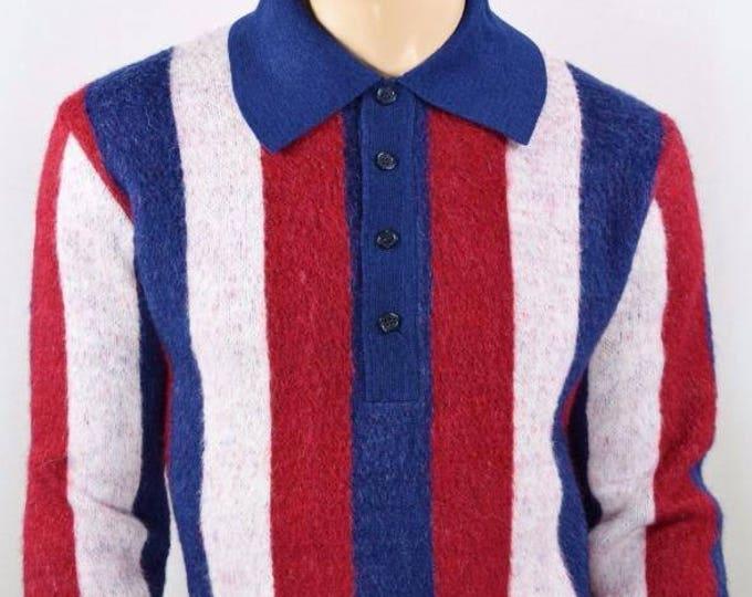 Vintage 1950's 60's Men's Damon Italy AtOMiC MOD LoOP CoLLaR BeAtNiK Striped Knit Sweater L