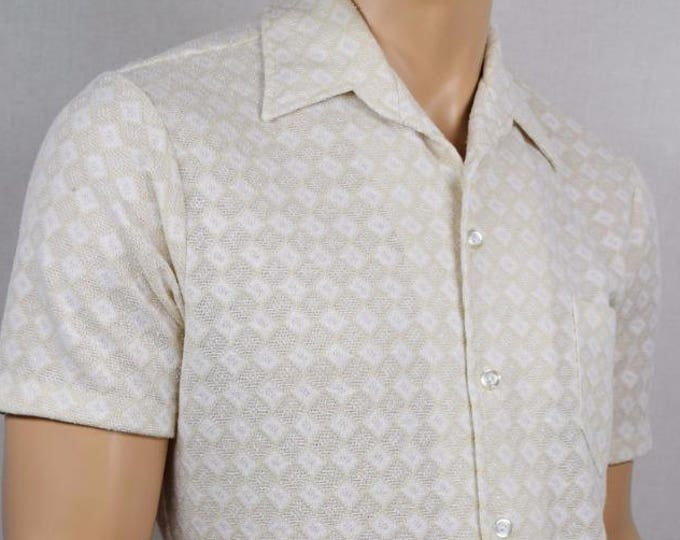 Vintage 1960's Men's Leader Of California ReTro MOD White Beige Pattern AtOmiC ErA HiPsTeR M