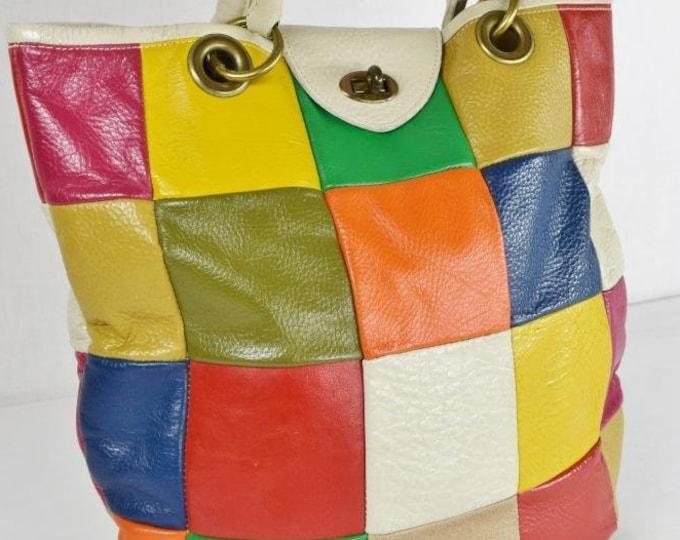 Vintage 1960's Roger Van S MoD Leather Patchwork Rainbow Hobo Boho Hippie Purse Tote Handbag