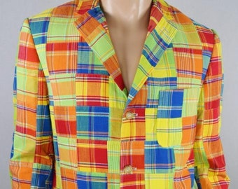 NWT Vintage 1990's Men's Polo Ralph Lauren Madras Cotton Plaid Patchwork Jacket Sport Coat Size L