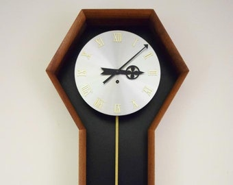 Vintage 1970's MCM George Nelson Howard Miller Arthur Umanoff Wall Clock 557 Walnut Brass