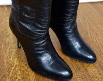 Vintage 1980's Women's 9 West Q - Jocelyn Sexy IcOniC Black Leather TaLL Pointed DiScO Boots Size 8 M