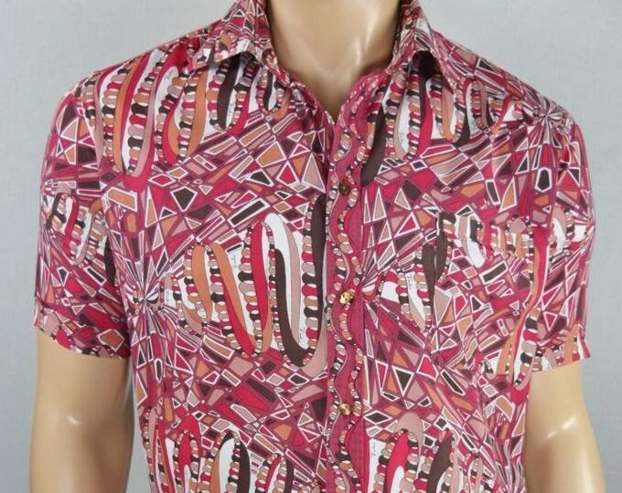 Vintage 1960's Men's EMILIO PUCCI Psychedelic OpTiC Op ArT Mod Cotton Shirt XL 50 - Very Rare