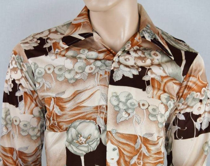 Vintage 1970's Men's Kmart Lady Poppy Flowers Op ArT ReTrO ULtRa MOD DiScO Shirt S M 42