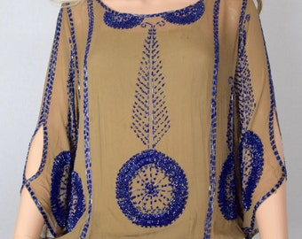 Vintage 1920's Women's Silk Heavily Beaded Art Deco CHICAGO Speakeasy Flapper Dress