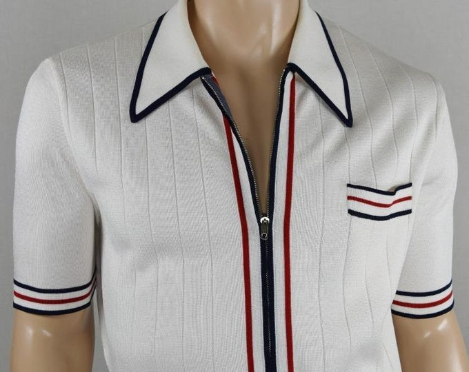 Vintage 1960's Men's Damon Italy AtOMiC MOD ReTro BeAtNiK Zip Up Knit Sexy Shirt Size M L 44