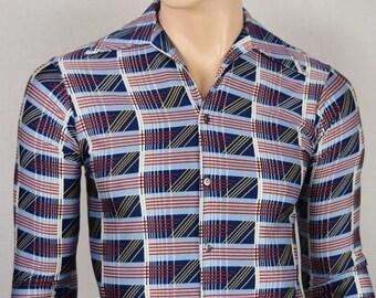 Vintage 1970's Men's  Q by Van Heusen Op ArT ReTrO ULtRa MOD DiScO Shirt Size S XS 39 38