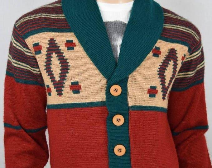 Vintage 1970's Men's CAMPUS Aztec Native Ethnic HiPPiE HiPsTeR Knit Cardigan Sweater M L