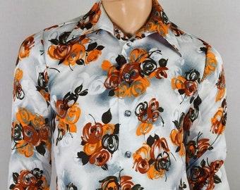 Vintage 1970's Men's D'Avila Op Floral ArT ReTrO Hippie Hipster Rocker DiScO Shirt Size Size M 42