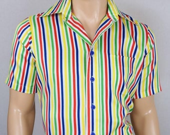 Vintage 1970's Men's Arrow Rainbow Colorful Striped Pattern ArT ReTrO ULtRa MOD Shirt L
