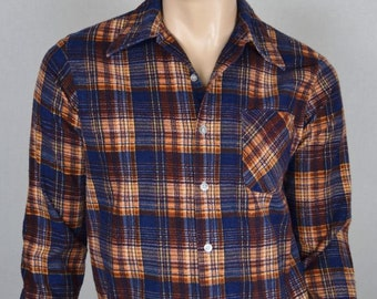 "Vintage 1970's Sears Men's Plaid Flannel Shirt M 44"" Chest Hipster"