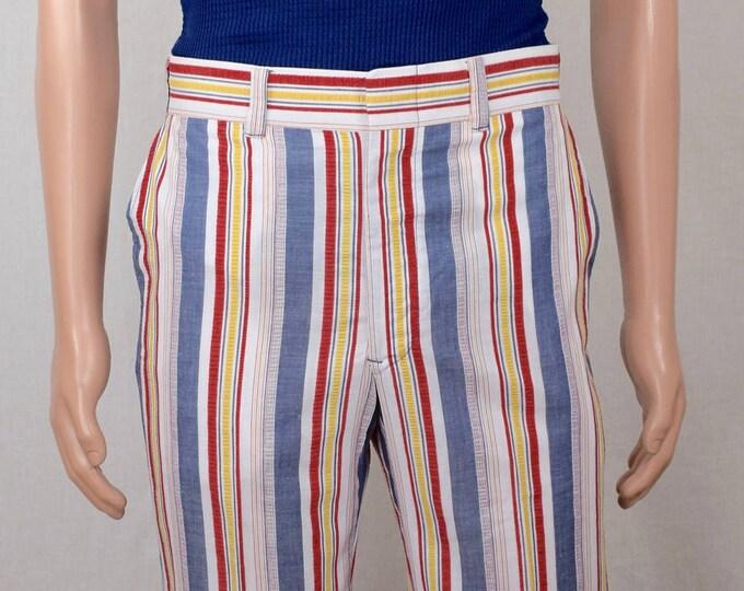 Nos Vintage 1970's Men's McGregor Striped Golf Sportswear Bell Bottom High Waisted Pants 32 x 32