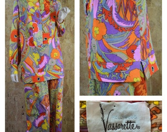 Vintage 1960's | 70's Vasserette 2 Piece Hippie Boho Blouse & Wide legged Palazzo Pants Pool Beach Cover Up Lounge Wear Size L
