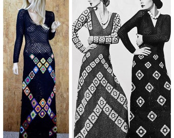 Vintage 1970's MASKIT Couture Crocheted GRANNY SQAURE Wool Maxi Hippie Dress Size M