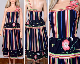 Vintage 1970's Victor Costa Rainbow ONE SHOULDER POPPY HiPPiE BoHo Couture Party Dress Size S