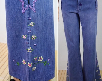 Vintage 1970's Women's Embroidered Butterfly Flower HiPPiE Low Rise Hip Hugger BeLL BoTToM WooDsToCk Denim Jeans 32 x 31 Size M