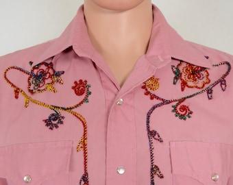 Vintage 1970's Men's Champion Westerns Metallic Embroidered Western Rockabilly HiPPiE RoCk STaR Shirt 44 M / L