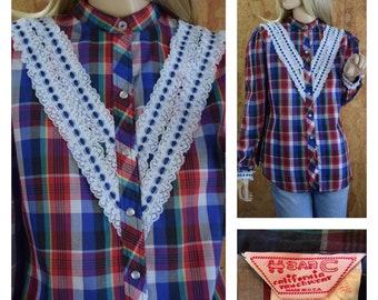 Vintage 1970's H Bar C California Ranchwear Women's Colorful Plaid Striped Lace Prairie Western Hippie Boho Pearl Snaps Shirt Blouse Size L
