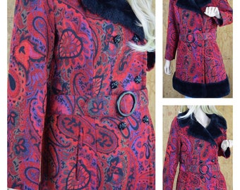 SOLD - Do Not Buy - Reserved for T. - Vintage 1960's | 70's RED Russian Princess Paisley Needlepoint Tapestry HiPPiE Boho Coat