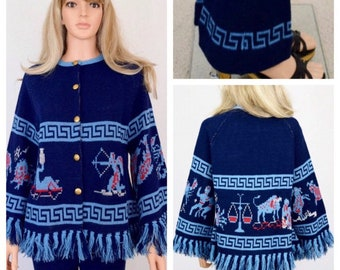 Vintage 1970's Women's ZoDiaC AsTroLoGY HiPPiE BoHo AsTrOloGicaL Knit Sweater & Pants Set 2 Piece Rock Star Outfit Size S M - RARE