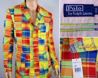 NWT Vintage 1990's Men's Polo Ralph Lauren Madras Cotton Plaid Patchwork Jacket Sport Coat Size L