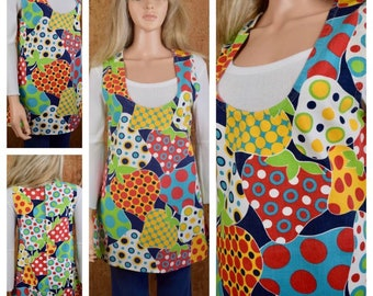 Vintage 1960's 70's MOD Pop Art Patchwork Strawberry Polka Dot Women's Jumper Vest Tunic Mini Sun Dress Hippie Boho Babydoll Size M