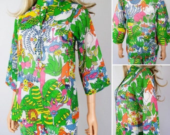 Vintage 1960's 70's Saks Fifth Avenue PsYcHeDeLiC JuNGLe AniMaLs Elephant Turtle HiPPiE PoP ArT Hawaiian Shirt TuNiC Size S