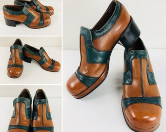 Vintage 1970's Men's US Size 10 ~  MANKIND Platform Disco Fever Shoes Two Tone Tan / Green Leather