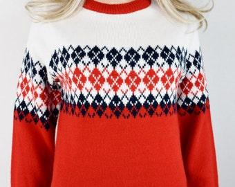 Vintage 1970's Women's Andros ARGYLE Fair Isle Nordic HiPPiE HiPsTeR Knit SKi Sweater S M