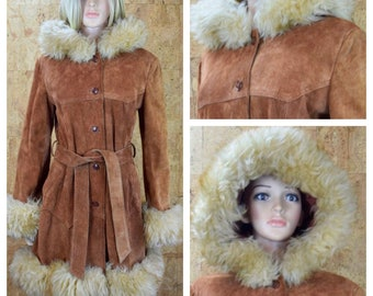 Vintage 1970's Women's Brown Suede Leather SHEARLING Trimmed HiPPiE BoHo Princess Hooded Coat Size M L