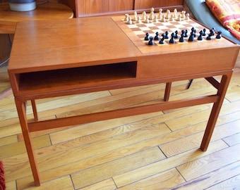 Vintage 1960's MCM Danish Modern Kurt Ostervig Teak CHESS BOARD Game Table hans Wegner Era