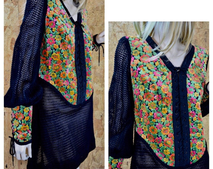 Featured listing image: Vintage 1960's | 70's Women's Chenille Carpet Bag Tapestry Rich HiPPiE BoHo FESTIVAL Rock Star Laced CROCHETED Knit MiNi Dress Size M