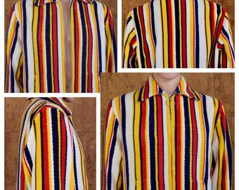 Vintage 1960's Men's Striped Cotton Plush TeRRY CLoTH SuRfeR BeaCH CaBaNa Pool Robe Towel HIPPiE Hipster Jacket Size M L 48