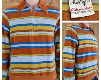 Vintage 1960's MOD Hartog of California Thick Soft Plush Striped Velour Zippered Surfer Hippie Hipster Shirt Size S / M