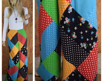 Vintage 1970's Women's Mountain Artisans Wide Leg High Waisted Patchwork Polka Dot Flower Hippie Boho Pants M  27 x 31