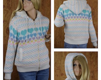 Vintage 1980's Women's Rainbow Heart Faux Shearling Lined Knit Zippered Hooded Sweater Jacket Size M