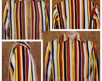 3888c4dcb1e77 Vintage 1960's Men's Striped Cotton Plush TeRRY CLoTH SuRfeR BeaCH CaBaNa  Pool Robe Towel HIPPiE Hipster Jacket Size M L 48