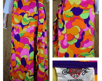 Vintage 1960's Women's PSYCHEDELIC Neon Rainbow Colorful Hippie Boho Hawaiian Beach Wrap Skirt Size XS / S