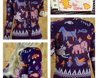 Vintage 1970's Women's Animal People Horse Bird Elephant Fish Turtle Reindeer Nordic Novelty Funky WHIMSICAL Hippie Knit Sweater Size XS/S