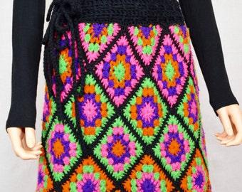 Vintage 1960's 70's EMPRESS Neon Granny Square Crocheted Fringed HiPPiE BoHo Skirt M