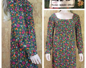 Vintage 1960's | 70's ZANIE LONDON Carnaby St. Colorful Psychedelic Floral HiPPiE BoHo WooDsTocK Smocked Maxi Dress Size M