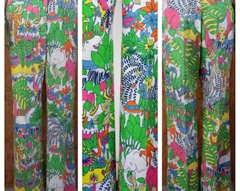 Vintage 1960's / 70's Cartoon Zoo Jungle AniMaLs Zebra Elephant Turtle Hippo Hippie Novelty Golf Cotton Flared Pants Size 12  28 x 31 M